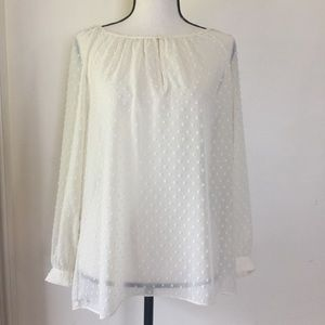 J.Crew Ivory Dotted Peasant Keyhole Blouse